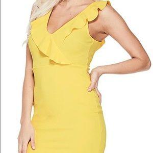 GUESS yellow Monroe Ruffle mini dress BNWT sz XS